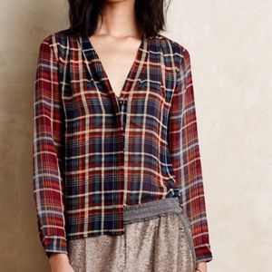 Anthropologie Maeve Plaid Blouse Button Down Sz S